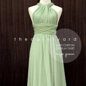 Four sage green maxi convertible dresses